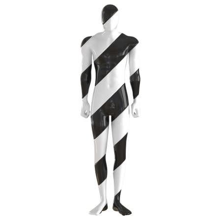 A striped black white male mannequin stands in a relaxed position on an isolated background. Front view. 3d rendering