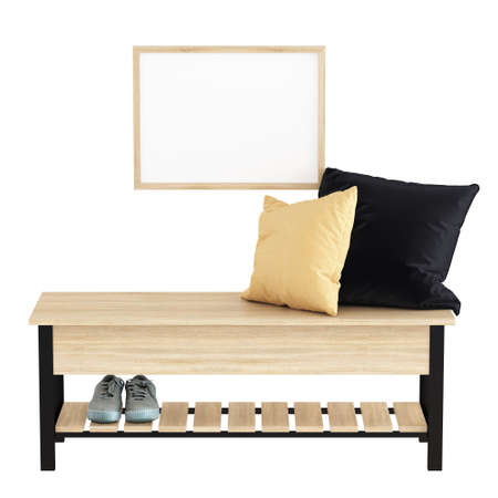 Light metal wood bench with a pillow and a pair of shoes and a frame with a blank picture on an isolated background. Hallway decor. 3d rendering