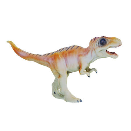Red white toy dinosaur with stripes on its back and open mouth stands on two legs against an isolated background. 3d rendering