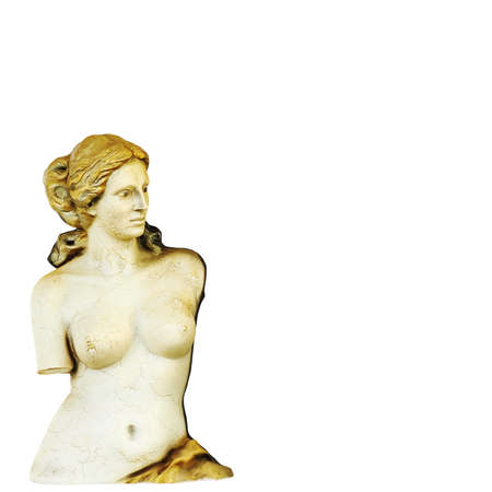 Statue of Venus de Milo with golden hair on an isolated background. 3d rendering