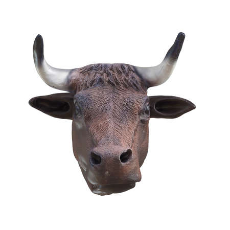 Plastic brown cow head on an isolated background. Front view. 3d rendering