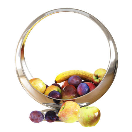 Glossy silver round vase with ripe plums, apples and banana. A bowl of fruit. 3d rendering