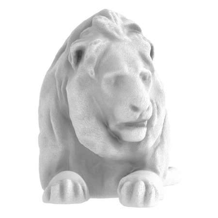 White stone statue of a reclining lion on an isolated background. Front view. 3d rendering