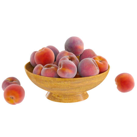 Ripe peaches lie in a wooden round vase on a white background. 3d rendering