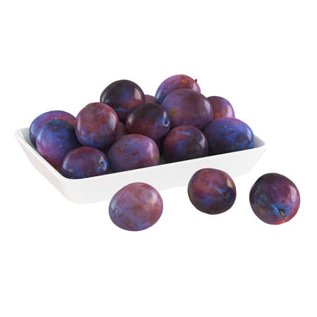 Ripe lilac purple glossy plums lie in and near a white plate on an isolated background. 3d rendering 版權商用圖片