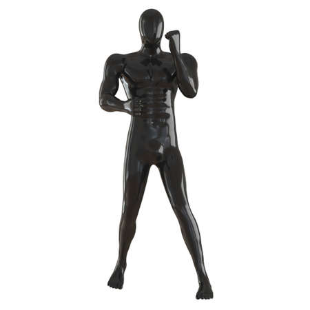 A black male mannequin stands in a fighting pose on a white background. Front view. 3d rendering