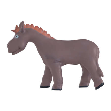 Brown rubber donkey on a white background. Childrens toy. 3d rendering 版權商用圖片