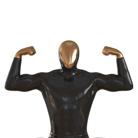 Black male mannequin with golden face and hands on a white background. Waist length view. 3d rendering 版權商用圖片