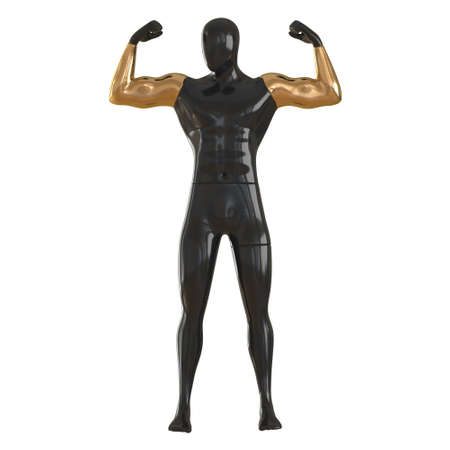 A black faceless mannequin with golden hands stands in an athletes pose on a white background. Front view. 3d rendering