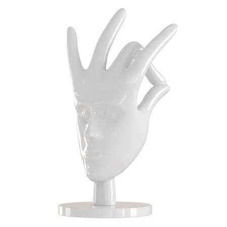 White decorative figurine in the form of a hand with a human face on an isolated background. 3d rendering