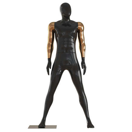 A black male mannequin with golden hands stands wide apart legs on a white background. Front view. 3d rendering
