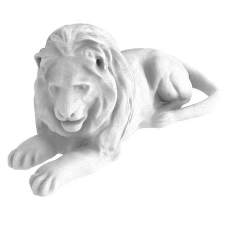 A white stone statue of a lying lion on an isolated background. 3d rendering 版權商用圖片