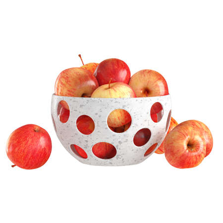 Red yellow ripe apples lie in a white decorative bowl with round holes on an isolated background. 3d rendering. 版權商用圖片