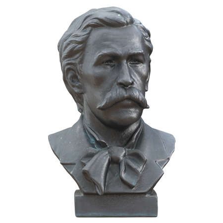 Gray bust of a mustachioed man on an isolated background. 3d rendering. Khudekov Sergey Nikolaevich.