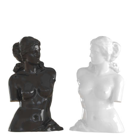 Two statues of Venus de Milo black and white on an isolated background. 3d rendering