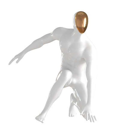 White male mannequin with golden face stands on his knee touching the floor with hand on isolated background. 3d rendering