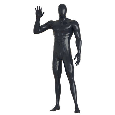 Black male faceless mannequin stands with bent arm raised against isolated background. 3d rendering