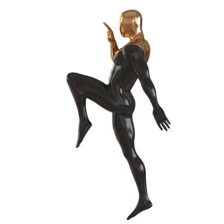Black and gold male mannequin in the pose of an athlete doing a knee kick. Side view. 3d rendering