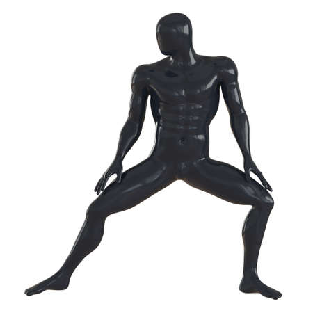 Male black athlete mannequin in a crouching pose on a white background. 3d rendering. Front view