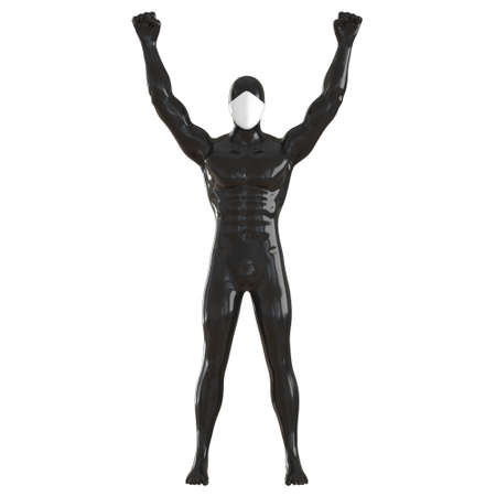 A black male mannequin with a white face stands holding his hands in fists upstairs against an isolated background. Front view. 3d rendering