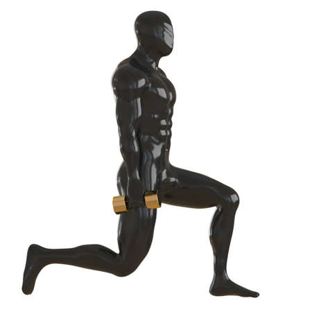 Black male muscular mannequin with golden dumbbells in lunge. Side view. 3d rendering