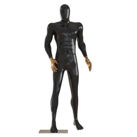 A black male faceless mannequin with golden hands stands on an isolated background. 3d rendering