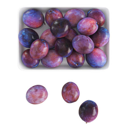 Ripe glossy plums of violet lilac color lie in and near a white plate on an isolated background. Top view. 3d rendering 版權商用圖片