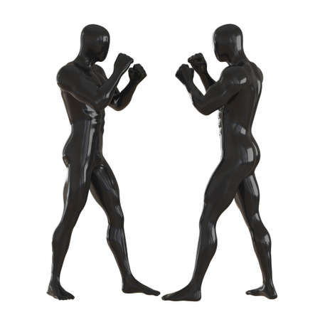 Two black male dummies stand opposite each other with their hands in fists. Sparing pose. 3d rendering