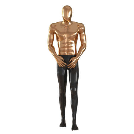 Male abstract mannequin golden top and black bottom in the pose of a walking man on a white background.