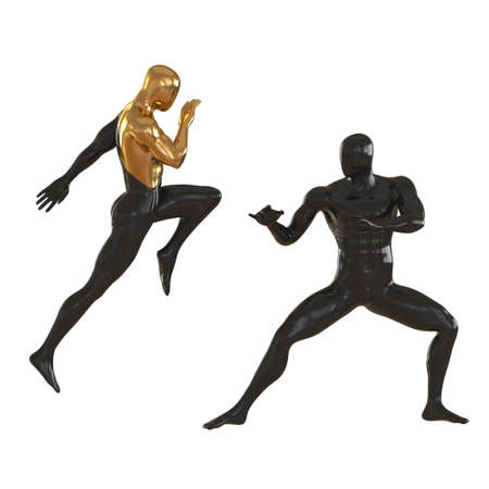 Two dummies black-gold and completely black in poses of fighters practicing techniques on a white background. 3d rendering