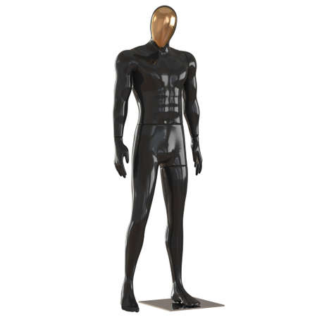 A black male mannequin with a golden insert on his face stands in a relaxed position on a white background. 3d rendering