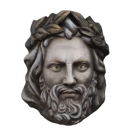 Stone head of Zeus on an isolated background. 3d rendering