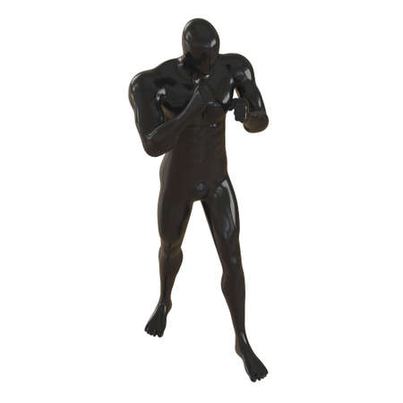 A black male faceless mannequin stands in a fighting pose on a white background. 3d rendering
