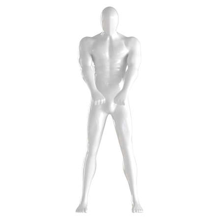 White male faceless mannequin stands holding hands in claps in front of him on an isolated background. 3d rendering
