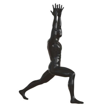 The black male glossy mannequin stands by making a lunge with his foot forward and holding his hands over his head. Yoga asana. 3d rendering