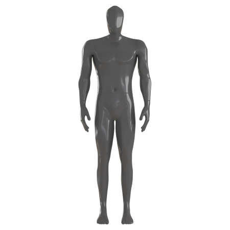 A gray male abstract mannequin with an angular head stands in a relaxed pose on an isolated background. 3d rendering
