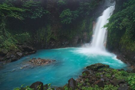 The beautiful celestial colored silky waters of the R?o Celeste waterfall in Costa Rica