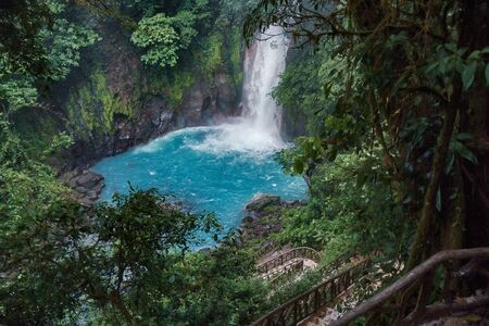 Global view of the awesome down path towards the Celestial River Waterfall in Costa Rica