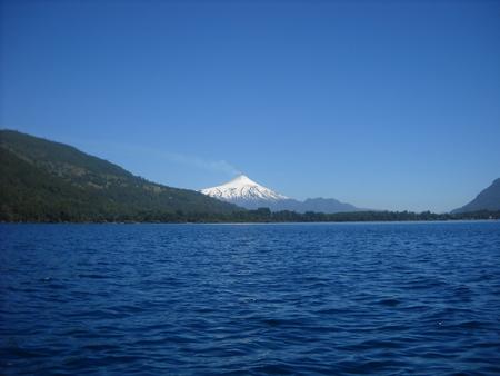 View of Lake Villarrica volcano Caburga to photo
