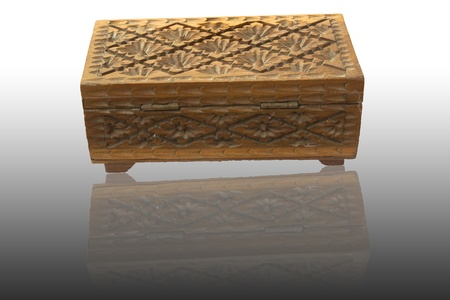 carved wooden box.