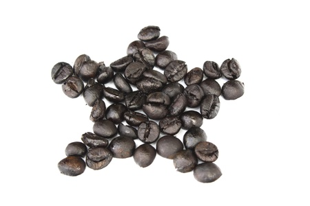 star coffee beans isolated on white