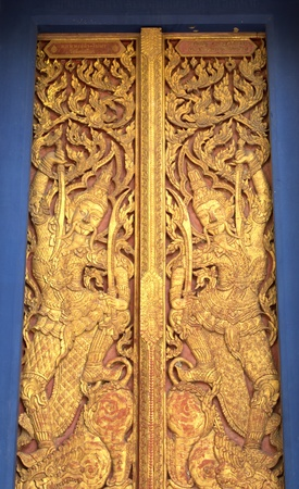 wood carving of native thai style  Stock Photo