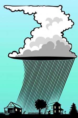 Cumulonimbus Wolken über Häuser Standard-Bild - 21035955