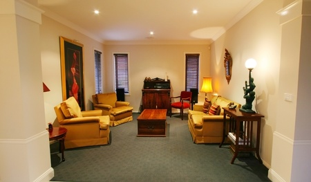 home decorated: Formal lounge room in a contemporary home Stock Photo