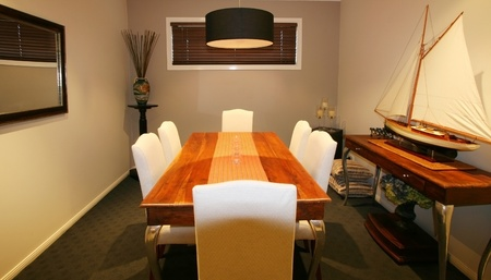 downlight: Contemporary formal dining room in private home