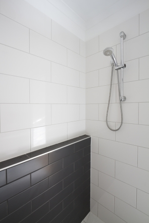 Contemporary walk in shower in a renovated edwardian home Stock Photo