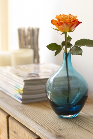 orange rose in blue vase with out of focus magazine and candles behind photo