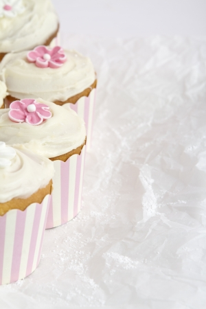 Pink and white striped cupcakes vertical with space for text