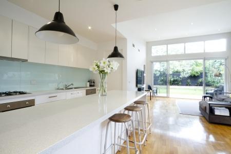 canicas: Cocina moderna y abierta sala de estar con aspecto de jardín Foto de archivo