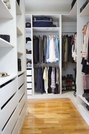 shelving: Modern walk in wardrobe in a contemporary home